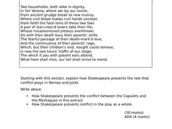 Romeo and Juliet Extract Questions - Conflict