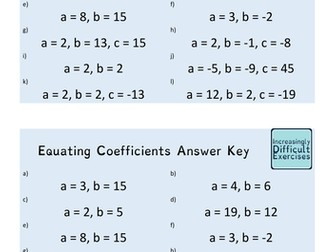Increasingly Difficult Questions - Equating Coefficients