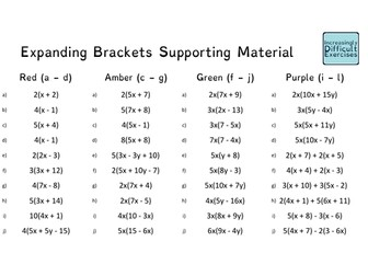 Increasingly Difficult Questions - Expanding Brackets