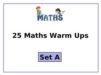 Year 3 or Year 4 Maths: 25 Warm Up or Plenary Activities (Set A)
