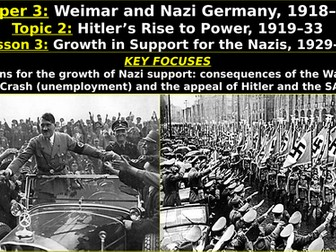 Edexcel Weimar & Nazi Germany, Topic 2: Hitler's Rise to Power, L3: Growth in Support for the Nazis