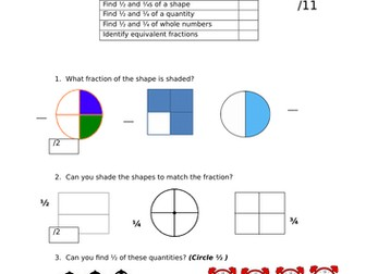 Year 2 Fractions Assessment