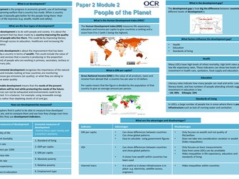 OCR A 9-1 GCSE Geography: People of the Planet Revision Sheets/Knowledge Organiser