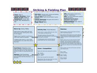 Year 2 - Striking & Fielding PE Unit