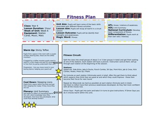 Year 4 Fitness Unit of Work
