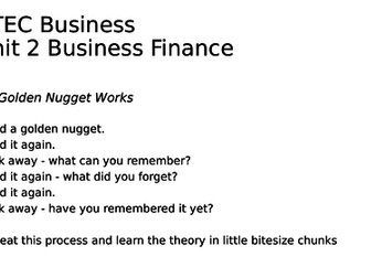 BTEC Business - Unit 2 Business Finance Golden Nuggets of Revision