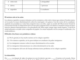 A Level Spanish Immigration: integration in schools reading & translation with answers