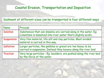Coastal Erosion, Transportation and Deposition - AQA GCSE - Coastal Landscapes