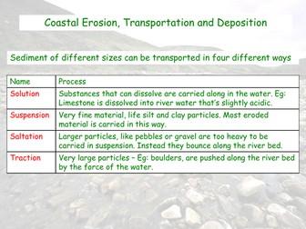 Coastal Erosion, Transportation and Deposition - AQA GCSE - Coastal Landscapes