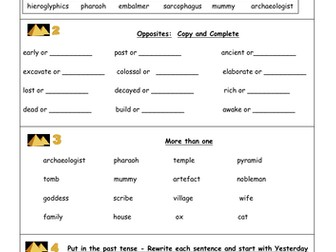 Ancient Egypt Activity Cards by KnowntoWork   Teaching Resources