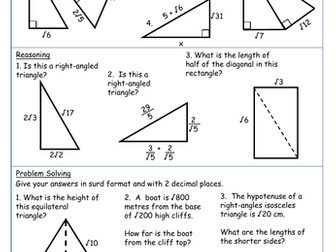 Pythagoras with Surds Mastery Worksheet