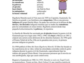 Rigoberta Menchú Biografía - Spanish Biography + Worksheet (Guatemalan Activist)