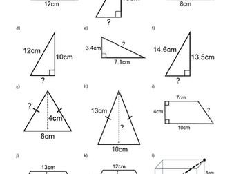 Increasingly Difficult Questions - Pythagoras/Pythagorean Theorem