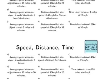 Increasingly Difficult Questions - Speed, Distance, Time