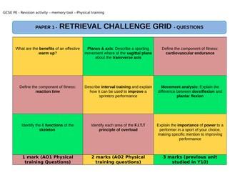 NEW AQA GCSE PE (9-1) Retrieval Challenge Grid - Revision for exam