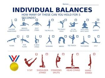 Gymnastics Balances Check Sheet