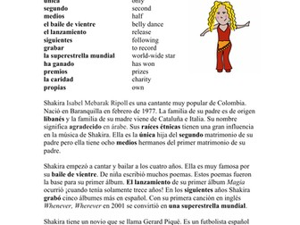 Shakira Biografía - Spanish Biography + Worksheet
