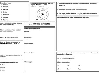 AQA Combined science Trilogy Chemistry revision mats