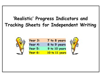 WRITING 'Progress Indicators' and 'Tracking Sheets'  (Year 3 to Year 6)