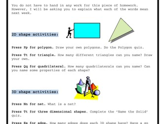 2D and 3D Shape - Homework Task