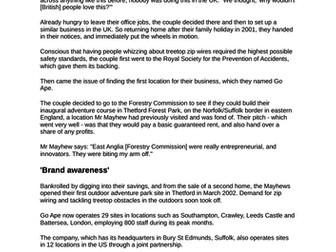 Marketing and People Assessment, Case Study and Feedback Form: A Level Business