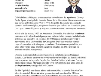 Gabriel García Márquez Biografía - Biography of Garcia Marquez + Worksheet