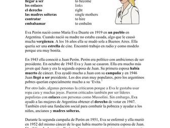 Eva Perón Biografía - Spanish Biography + Worksheet