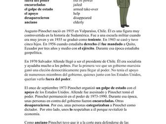 Augusto Pinochet Biografía - Spanish Biography + Worksheet