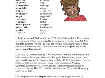 Celia Cruz Biografía: Spanish Biography + Song Cloze Activity on Guantanamera