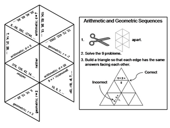 Arithmetic and Geometric Sequences Game: Math Tarsia Puzzle
