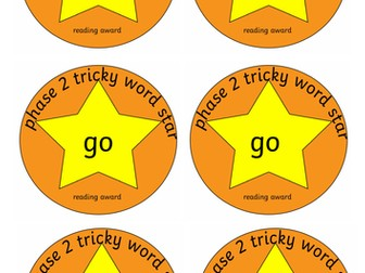 Phase 2 tricky word reading and spelling medals and stickers set