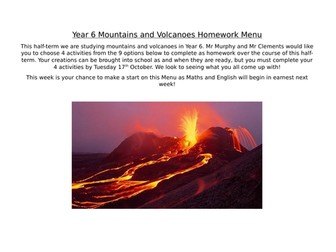 Mountains and Volcanoes Homework Menu