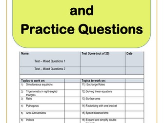 Maths GCSE 9-1 Exam Preparation and Practice Questions – Diagnostic Test