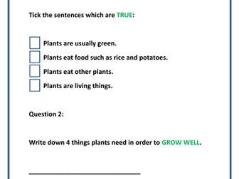 PLANTS - Assessment Booklet