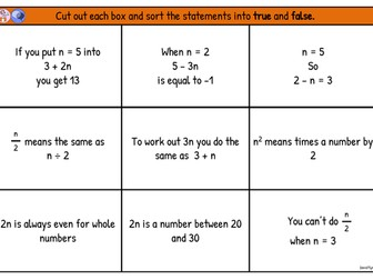 Algebra True or False Cards