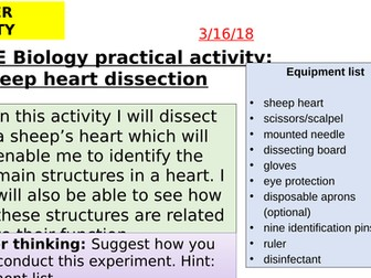 AQA new specification-Heart dissection practical-B4.3