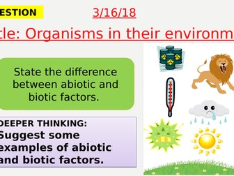 AQA new specification-Organisms in their environment-B15.2