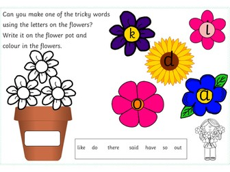 phase 4 tricky word flower pot activity (there,said,do,like,out,have and so)