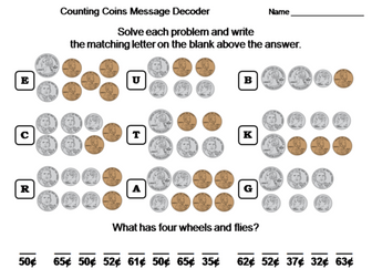 Counting Money using Mixed Coins Worksheet: Math Message Decoder