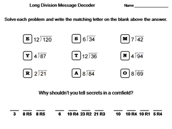 Third Grade Long Division with Remainders Activity: Math Message Decoder