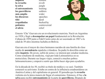 Che Guevara Biografía - Spanish Biography + Worksheet and Video Link