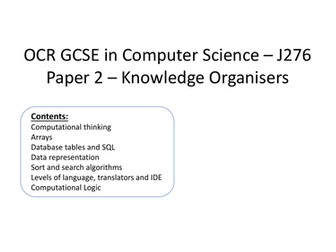 OCR J276 Computer Science Paper 2 Revision - Knowledge Organisers