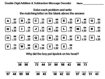 Double Digit Addition and Subtraction Without Regrouping: Math Message Decoder