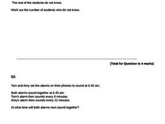 Edexcel GCSE higher Paper 1 non calc problem solving