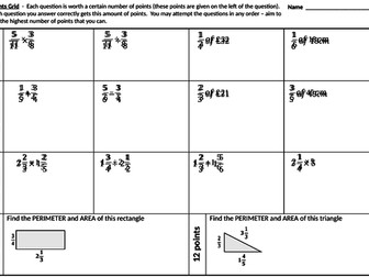 Calculations with fractions and mixed numbers - points grid