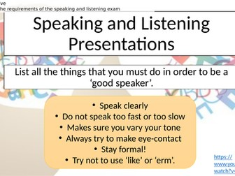 SPEAKING AND LISTENING PLANNING