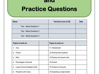 GCSE 9-1 Exam Practice Questions – Maths Revision Mats