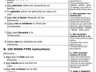 AQA SPANISH GCSE WRITING INSTRUCTIONS and RUBRICS worksheet.