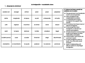 Spanish A Level Immigration : la inmigración synonym match up, vocabulary revision and translation