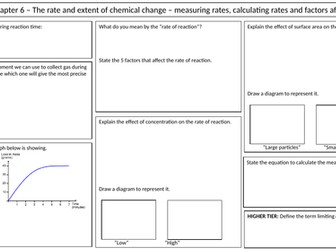 NEW AQA 2016 GCSE Trilogy Chemistry revision mat for the rate and extent of chemical change